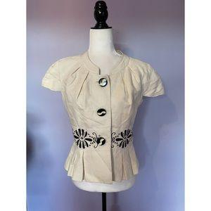 Anthropologie Elevenses short sleeve jacket